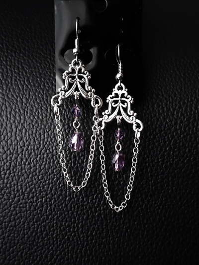 Vintage Gothic Engraved Crystal Chain Long Earrings
