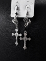Vintage Gothic Cross Asymmetrical Long Earrings