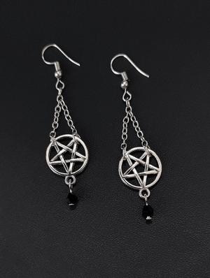 Vintage Gothic Pentagram Chain Earrings