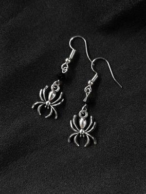 Black Vintage Gothic Spider Asymmetrical Earrings