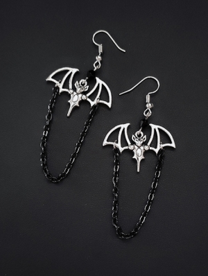 Vintage Gothic Vampire Bat Chain Earrings