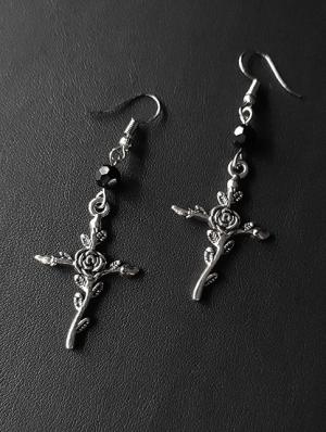 Vintage Gothic Black Crystal Rose Cross Earrings