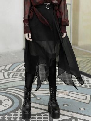 Street Fashion Chiffon Black Irregular Gothic Grunge Skirt