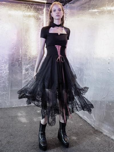 Street Fashion Black Tulle Irregular Gothic Grunge Skirt