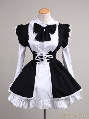Black and White Long Sleeves Sweet Lolita Maid Dress