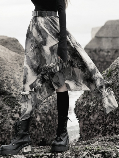 Street Fashion Grey Chiffon Irregular Gothic Grunge Skirt