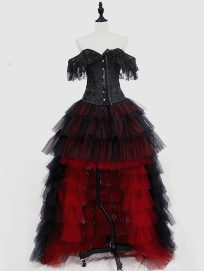 Black and Red Gothic Burlesque Corset Prom Party High-Low Dress