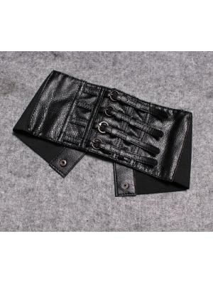 Black Gothic PU Leather Wide Girdle