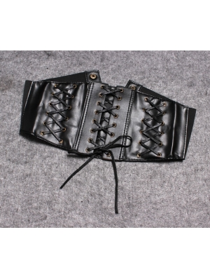 Black Gothic PU Leather Lace-up Wide Belt
