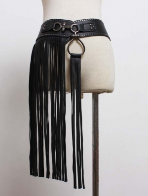 Black Gothic Punk PU Leather Belt With Tassel