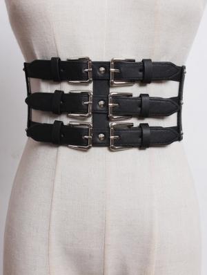 Black Gothic Punk PU Leather Buckle Girdle