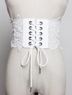 White Lace Gothic Wide Lace- up Belt