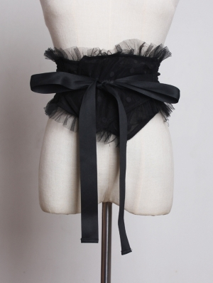 Black Gothic Tulle Girdle with Bow Sash
