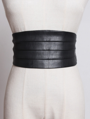 Black Simple Gothic PU Leather Wide Girdle