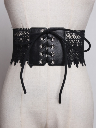 Black Lace Gothic Wide Lace- up Girdle
