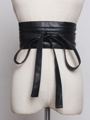 Black Gothic PU Leather Wide Belt with Bow Sash