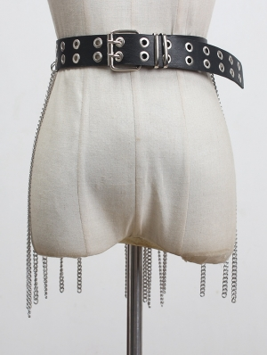 Black Gothic Punk PU Leather Belt with Tassel Chain Back