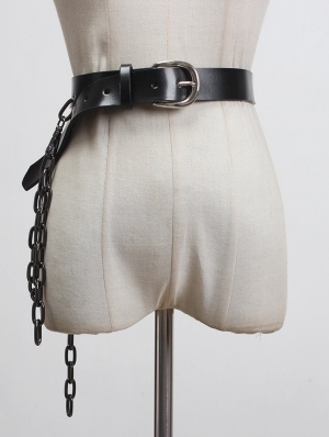 Black Gothic Punk PU Leather Belt with Thick Chain