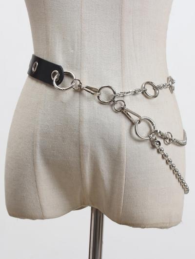 Black Gothic Punk PU Leather Hoop Chain Belt