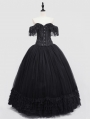 Romantic Black Off-the-Shoulder Gothic Lace Corset Long Prom Ball Dress