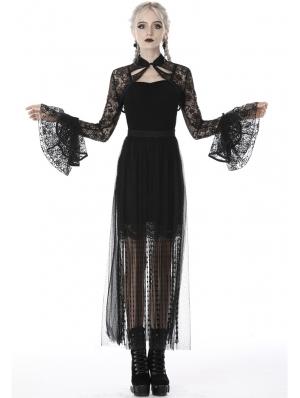 Black Vintage Gothic Lace Cape for Women