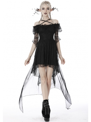 Black Gothic Princess Off-the-Shoulder Lace Tail Party Dress