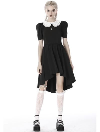Black and White Gothic Short Sleeve High-Low Dress