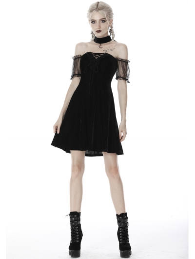 Black Gothic Velvet Off-the-Shoulder Short Dress with Moon Choker