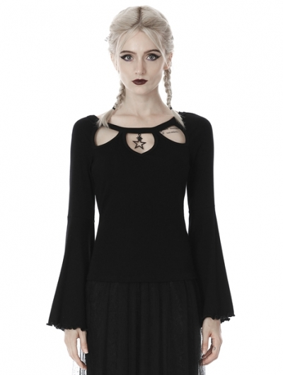 Black Sexy Gothic Hollow-out Star Long Sleeve T-shirt for Women