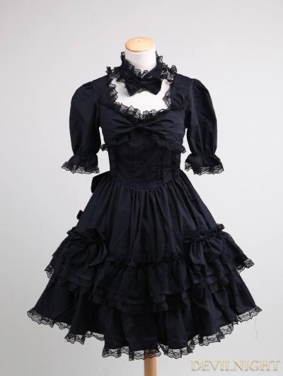 Black Short Sleeves Lace Bow Gothic Lolita Dress