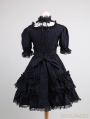 Black Short Sleeves Lace Bow Gothic Lolita Dress