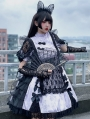 Chinese Cat Purple Short Sleeve  Lolita Maid OP Dress