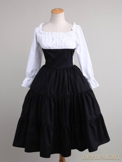 Black and White 3/4 Sleeves Classic Lolita Dress
