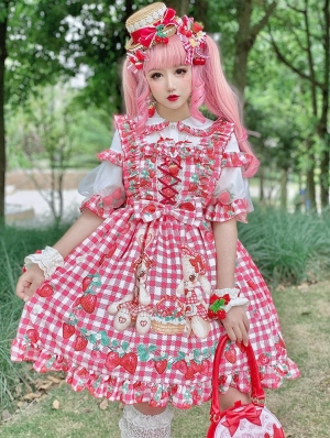 Strawberry Picnic Of Rabbits Sweet Lolita JSK Dress