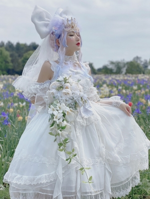 Gorgeous White Chiffon Classic Lolita OP Dress