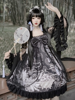 The Butterfly Dream Black Chinese Style Long Sleeve Lolita OP Dress