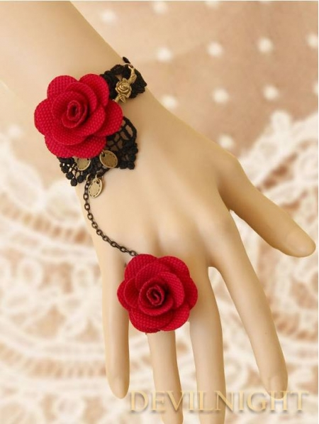Black Lace Red Rose Gothic Bracelet Ring Jewelry