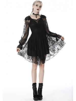 Black Gothic Elegant Long Sleeve Lace Midi Dress