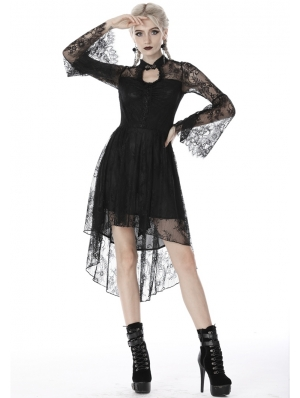 Black Gothic Lace Long Sleeve High-Low Dress