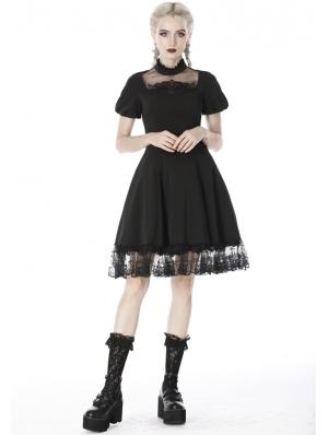 Black Gothic Lolita Short Sleeves Midi Dress