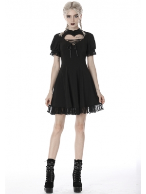 Black Gothic Girl Short Sleeve Heart Midi Dress