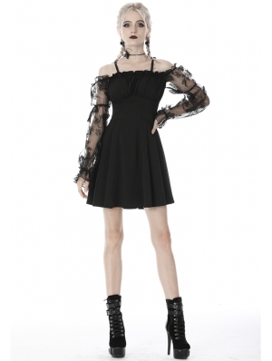 Black Gothic Off-the-Shoulder Butterfly Short Dress