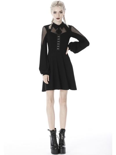 Black Gothic Girl Long Sleeve Short Daliy Dress