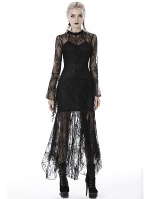 Black Gothic Lace Asymmetrical Long Dress