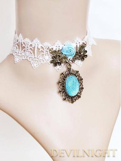 Blue Vintage Pendant Lace Victorian Necklace