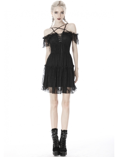 Black Gothic Off-the-Shoulder Lace Pentagram Short Dress