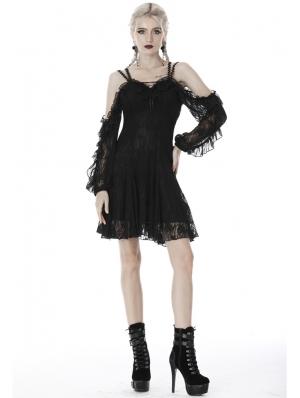 Black Gothic Off-the-Shoulder Long Sleeve Lace Short Dress