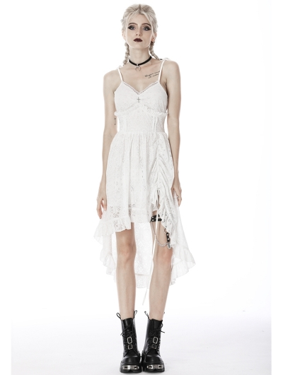 White Gothic Steampunk High-Low Lace Dress