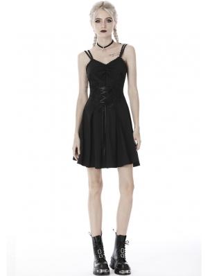 Black Gothic Flower Lace Applique Short Dress