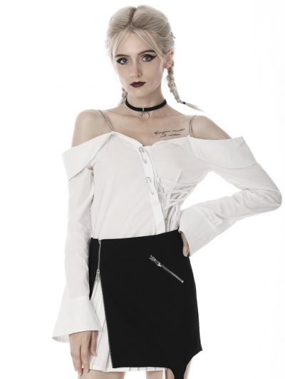 White Gothic Off-the-Shoulder Irregular Long Sleeves Blouse for Women